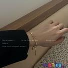 手鍊 手鐲高級感金色復古字母手鍊女夏ins小眾設計冷淡風簡約氣質閨蜜手鐲 寶貝 新品