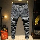鳳凰刺繡牛仔褲男型男修身彈力復古青年繡花長褲子男生中國風潮流  降價兩天