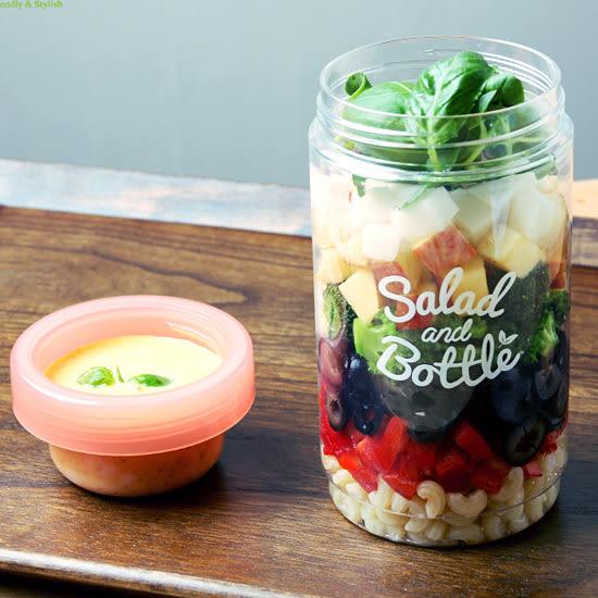 韓國KOMAX沙拉瓶環保隨身沙拉瓶塑料儲物瓶 圓形保鮮食物沙拉瓶1L-UN SHOP【POT0】
