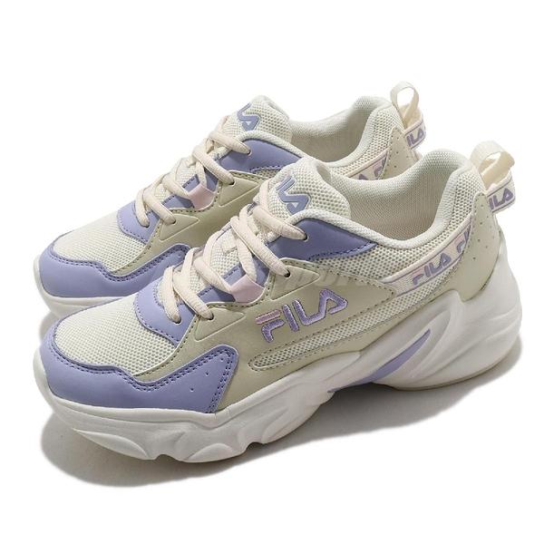 Fila 慢跑鞋 Hidden Tape 2 女鞋 米 紫 膠底 老爹鞋 運動鞋 【ACS】 5J329V199