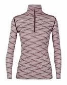 [好也戶外]Icebraeker 女 Oasis 美麗諾羊毛半開襟長袖上衣-BF200-IB104381紫波紋