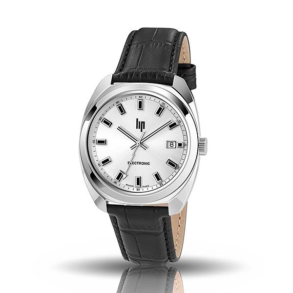 【lip】General De Gaulle法國總統時尚鋼帶石英腕錶-黑銀款/671349*/台灣總代理公司貨享兩年保固