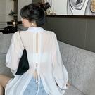 長款上衣 夏季長袖防曬襯衫寬鬆休閒後背綁帶上衣中長款白襯衣女裝-Ballet朵朵