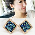 耳環-復古華麗風方塊寶石百搭藍貝耳針 (SRA0086) AngelNaNa