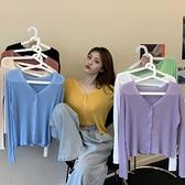 夏季2020年新款冰絲V領針織衫女夏薄款防曬衫紫色短款開衫小外套 酷男精品館