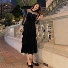 網紗洋裝超仙網紗亮片拼接晚禮服連身裙秋冬新款收腰顯瘦小黑裙 新年禮物