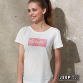 【JEEP】女裝 蕾絲風格轉印短袖TEE (白色)