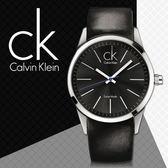 CK手錶專賣店 K2241104 男錶  大錶徑 石英 黑面 防水100米 礦物抗磨玻璃 扣帶式 皮革錶帶