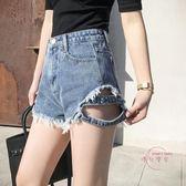 夏季新款側面帶牛仔短褲女寬鬆磨破洞高腰熱褲闊腿顯瘦毛邊潮 中秋鉅惠