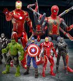 漫威復仇者聯盟4蜘蛛俠美國隊長3鋼鐵俠手辦模型綠巨人偶滅霸玩具 潮流衣舍