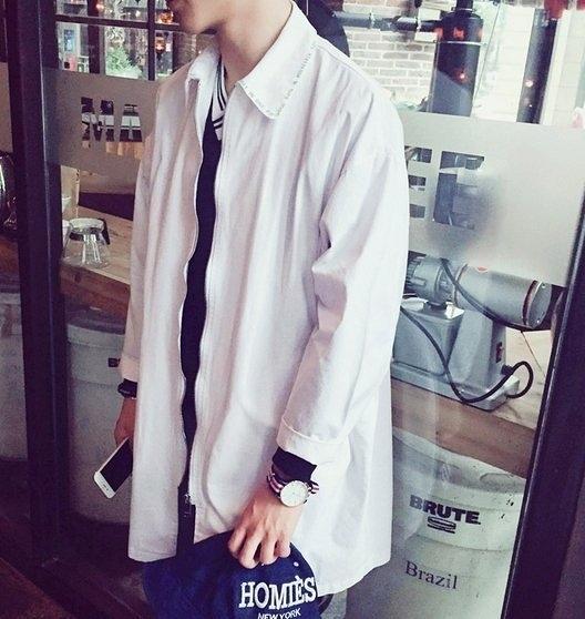 韓國薄款  外套 外搭 長版 外套 大衣 襯衫  OVK  平價 服飾  ZNIF 亞森  搖滾 怪獸 星球