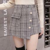 秋新款高腰顯瘦不規則半身褲裙韓范潮搭格子闊腿褲外穿靴褲女