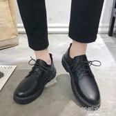 夏季英倫皮鞋休閒商務正裝黑色小皮鞋男韓版百搭潮流青年上班西裝 韓語空間
