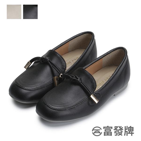 【富發牌】圓舞曲扭結兒童樂福鞋-黑/杏 33BE75