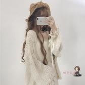 涼感上衣 春裝2019新款韓版可愛少女蕾絲寬鬆燈籠袖長袖中長款防曬開衫外套