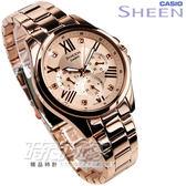 SHEEN SHE-3806PG-9A 簡單俐落三眼多功能鑽錶 女錶 玫瑰金色 SHE-3806PG-9AUDR CASIO卡西歐 石英錶