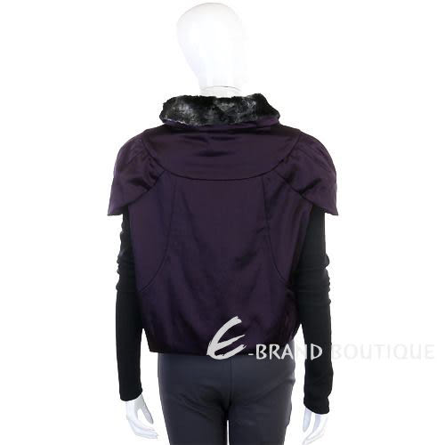 KENZO-antonio marras 深紫色毛草飾領仿兩件式拉鍊外套 0840067-04