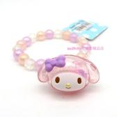 asdfkitty可愛家-美樂蒂大臉造型小花串珠兒童彈性塑膠手環/手鍊-日本正版商品