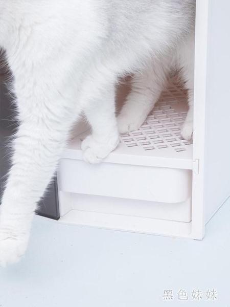 貓砂盆用品 半封閉式貓廁所沙盆除臭貓屎盆wl5684[黑色妹妹]