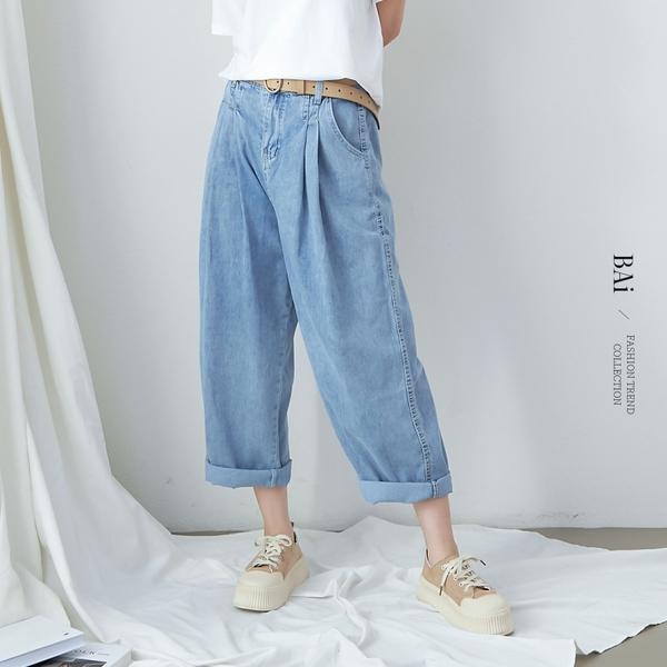 薄款!多摺車線繭型牛仔褲S-XL號-BAi白媽媽【310707】