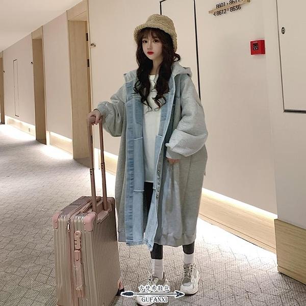牛仔外套 棉服新款女裝冬季外套設計感拼接牛仔棉衣韓版寬鬆長款棉襖子 - 古梵希