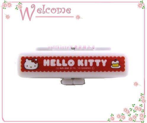 asdfkitty可愛家☆KITTY印章盒-草莓蛋糕-有印泥歐-日本正版商品全新