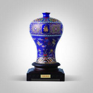瓷 紅瓷 景泰藍 聚福呈祥花瓶