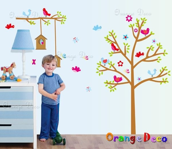 壁貼【橘果設計】小鳥樂園 DIY組合壁貼/牆貼/壁紙/客廳臥室浴室幼稚園室內設計裝潢