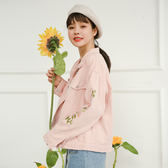 春秋新款韓版bf刺繡夾克上衣學生寬鬆百搭薄款短款牛仔外套女