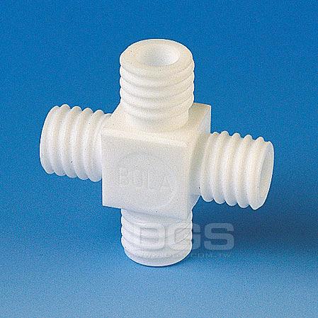 《BOHLENDER》十字型螺牙接管 PTFE GL-Tube Fitting, 4-Way, PTFE