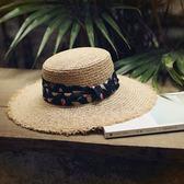 草帽-手工編織大簷帽戶外時尚渡假休閒女遮陽帽73si80【巴黎精品】