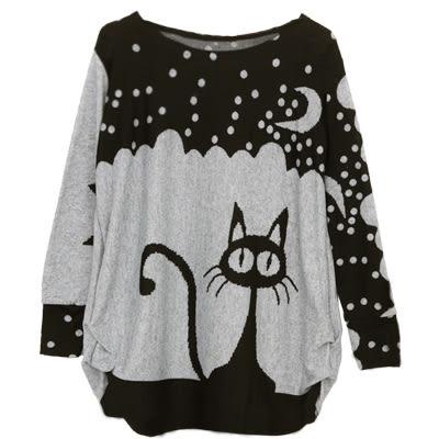 【AnZa】月亮雪夜貓咪針織毛衣(二色)