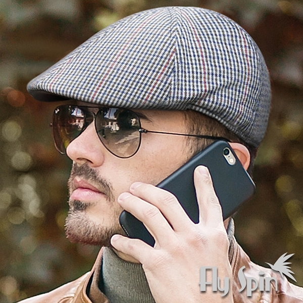 鴨舌帽子-男款時尚英倫風格紋毛呢保暖紳士鴨舌扁冬帽15AW-H007 FLY SPIN