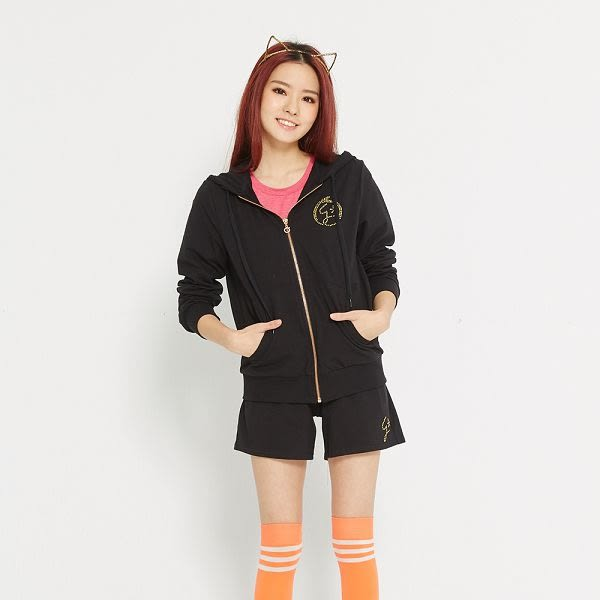 TOP GIRL Girl 閃耀之星- 舒適棉感休閒針織連帽外套 黒