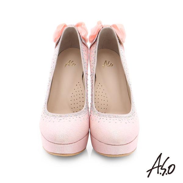 A.S.O 幸福華爾滋 金蔥布水鑽飾釦宴會高跟鞋 粉紅