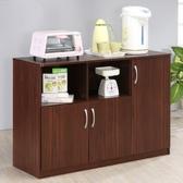 【Hopma】三門六格廚房櫃/收納櫃-胡桃木