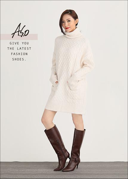 A.S.O 保暖靴 真皮流蘇綴飾細跟長靴  咖啡