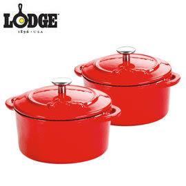 丹大戶外用品【LODGE】ECMCR43 琺瑯10OZ迷你鑄鐵鍋(二件組) 紅 鑄鐵材質/迷你荷蘭鍋/小圓鍋