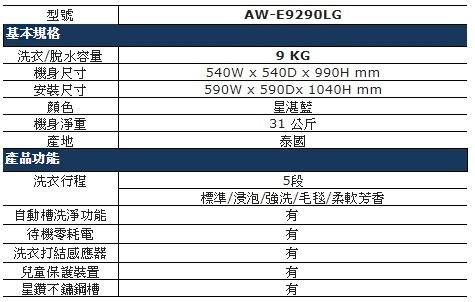 TOSHIBA東芝【AW-B9290LG】9公斤洗衣機