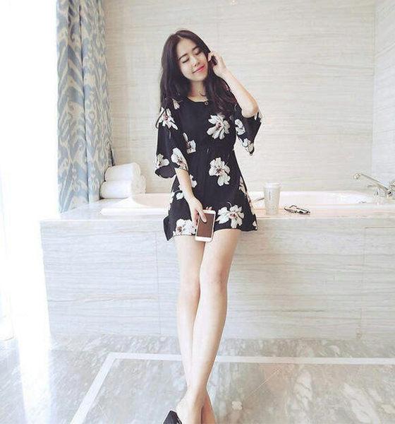 【Fabulous!!】韓版圓領小白花雪紡喇叭袖修身洋裝
