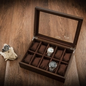 手錶盒-夭桃(飾品)木制天窗手錶盒子十格木質首飾手鍊手串展示盒收納盒 東京衣秀