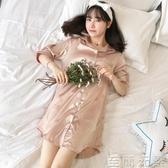 冰絲睡裙女夏季短袖睡衣薄款香檳性感春秋天真絲綢胖mm200斤大碼-城市部落