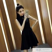黑色無袖背心裙2021新款夏吊帶洋裝中長款打底韓版收腰顯瘦裙子 母親節特惠