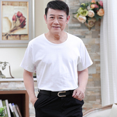 中年男士短袖t恤寬鬆中老年人純棉白汗衫夏天爸爸半袖老頭衫爺爺