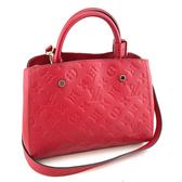 【奢華時尚】秒殺推薦!LV Montaigne BB 莓紅色壓紋牛皮手提斜背兩用包(九五成新)#23764