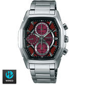 WIRED SEIKO副牌 太陽能酒紅酒桶形計時碼表鋼帶錶 40mm V176-0AJ0R AY9003X1   名人鐘錶