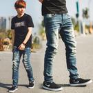牛仔褲 韓國製復古刷色口袋皮革小直筒牛仔...