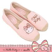 HELLO KITTY X Ann'S花園小仙子不對稱刺繡平底草編鞋-粉