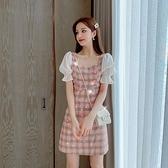2021夏季新款法式氣質格子短袖女裙子收腰顯瘦雪紡拼接A字洋裝