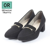 【ORiental TRaffic】簡約金屬釦飾方頭中跟鞋-質感黑
